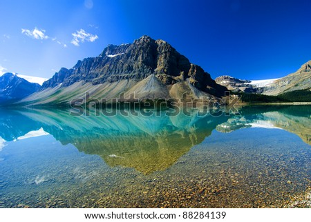 Crowfoot Mountain reflection on Bow Lake