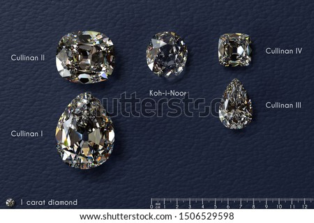 Crown jewels: four biggest Cullinan diamonds, Koh-i-Noor diamond with titles, millimeter ruler,  in comparison with 1 carat diamond, on dark blue leather background. 3D illustration