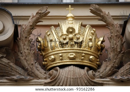 Crown, Kinsky Palace, Old town square, Prague - stock photo