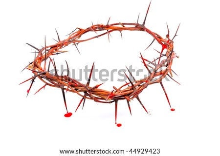 crown made of thorns and blood drops isolated on white background - stock photo