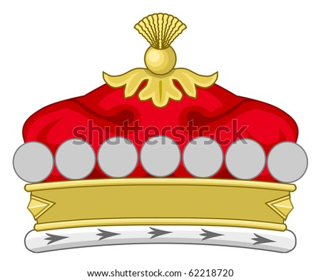 Crown of royal monarch, isolated on white background.