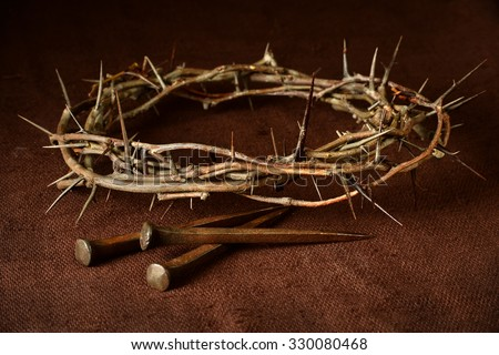 crown of thorns and nails over...