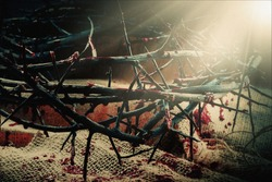 Crown of thorns in blood as a symbol of death and resurrection of Jesus Christ for our sins.