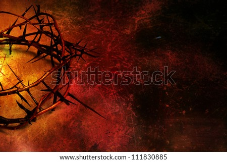 Crown of thorns on textured background