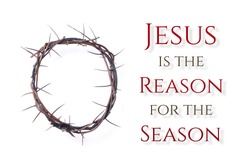 Crown of thorns on white background. Remember the real Reason of the Season. Christian Christmas and Easter concept. Jesus Christ born to Die, born to Rise. Messiah, Emmanuel