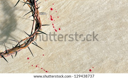 crown of thorns with blood on...