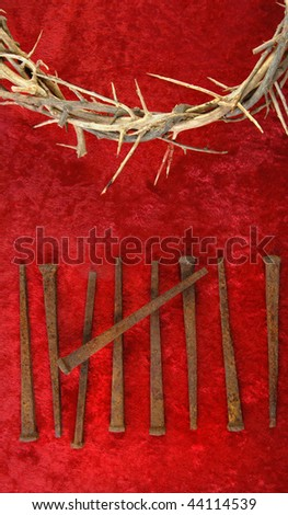 Crown of Thorns with metal spikes on red background.