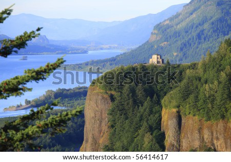 Crown point, Columbia River Gorge Oregon. - stock photo