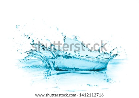 crown shaped turquoise water splash with reflection, isolated on white #1412112716