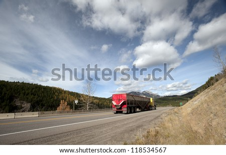 Crowsnest Pass (Highway #3) in Alberta-British Columbia boundary in Canada