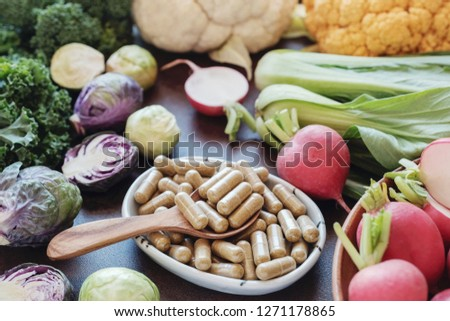 cruciferous vegetables capsules, dietary supplements for healthy Stock photo ©