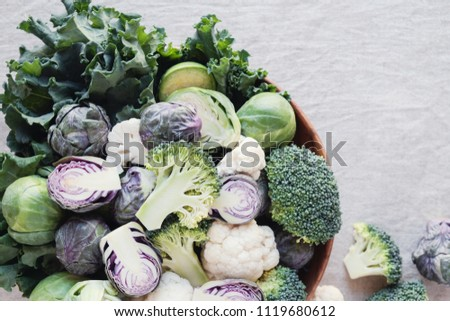 cruciferous vegetables, cauliflower,broccoli, Brussels sprouts, kale in wooden bowl, reducing estrogen dominance, ketogenic diet, plant based vegan food #1119680612