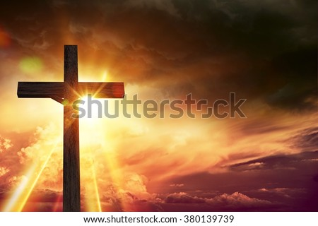 Crucifix Blessing Lights Background. Large Wooden Crucifix at Sunset with Right Side Copy Space. Christianity Theme Illustration.
