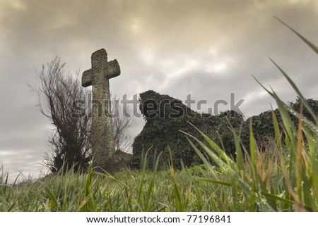 Crucifix in France,on a foggy day. High density range image