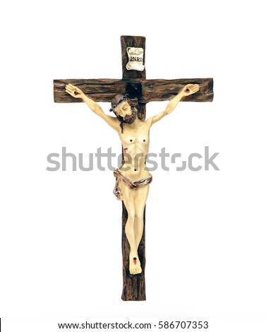 Jesus Christ Crucified On White Background An Ancient Wooden