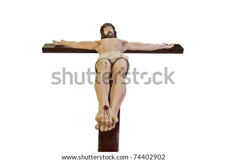 Crucifix  Statue ,View At the foot of  The crucified Jesus Christ