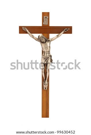 Crucifix with figure of Jesus on white background, vertical