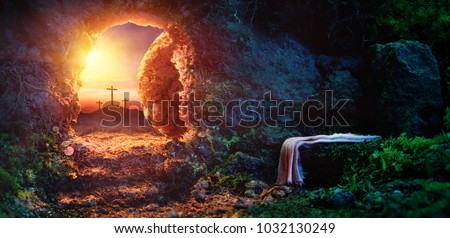 Crucifixion At Sunrise - Empty Tomb With Shroud - Resurrection Of Jesus Christ #1032130249