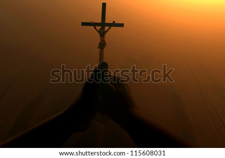 Crucifixion in the hands of a believer.