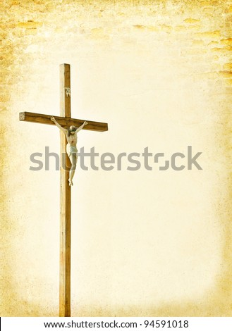 Crucifixion - Jesus Christ on the cross. Christian god at the old paper background -  ancient postcard in religions style. Biblical books page with Crucifix.
