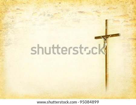 Crucifixion - Jesus Christ on the cross. Christian god at the old paper background in ancient  religions style. Biblical books page with Crucifix.