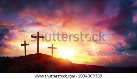 Crucifixion Of Jesus Christ  At Sunrise - Three Crosses On Hill  #1034009389