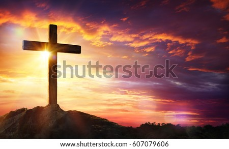 Crucifixion Of Jesus Christ - Cross At Sunset  #607079606