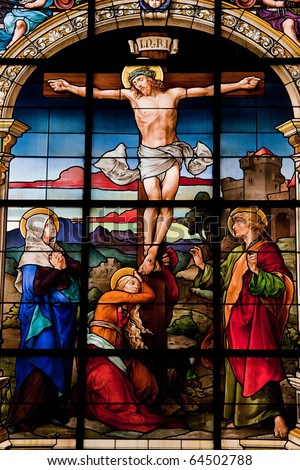 Crucifixion of Jesus, stained glass in the German Church (St. Gertrude's church) in Gamla Stan in Stockholm.