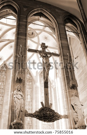 crucifixion sigh in Gothic cathedral
