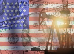 Crude oil and petroleum concept. Pump jack, US 100 USD dollar notes and American flag background