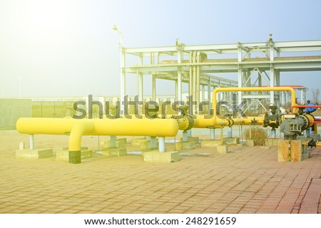 crude oil processing and transmission equipment, closeup of photo #248291659