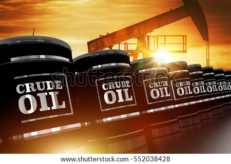 Crude Oil Trading Concept with Black Crude Oil Barrels and Oil Pump During Sunset. 3D Rendered Barrels. Stockfoto ©