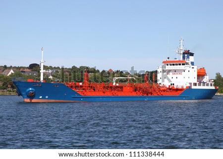 crude oil vessel on Kiel Canal, Germany