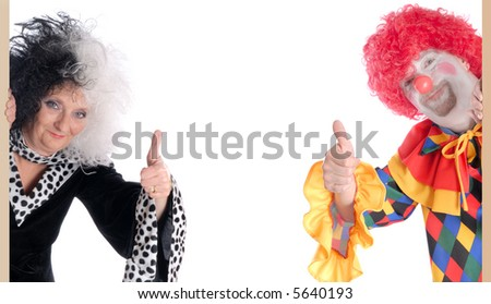 Cruella and clown giving the okay sign.  Copy space provided