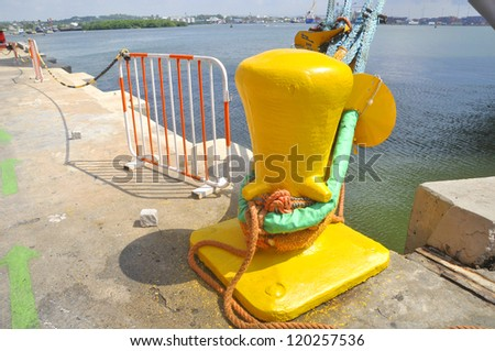 Cruise boat mooring.