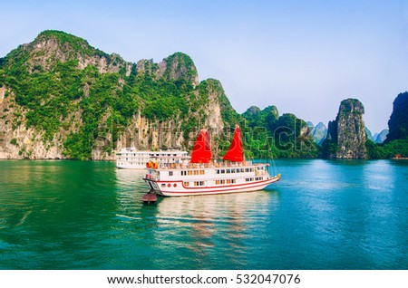 Cruise boats on Halong bay, Vietnam