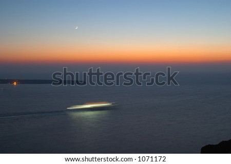 Cruise liner at the sunset and moonrise 2