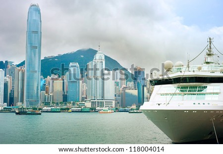Cruise Liner in Hong Kong. View from Kowloon island