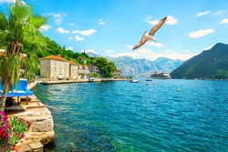 Cruise liner in Perast, small picturesque town in Montenegro