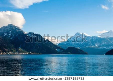 Cruise on Lake Lucerne in autumn, Central Switzerland, Switzerland #1387185932