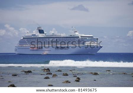 Cruise Ship anchored in front of Rarotonga - Cook Islands, Polynesia, Oceania