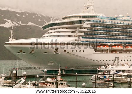 Cruise Ship Anchored in port at Whittier, Alaska
