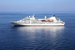 Cruise ship anchored off the coast