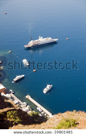cruise ship and yachts old port harbor thira santorini greece cyclades island