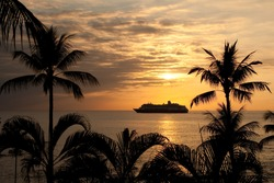 Cruise Ship at sunset in Hawaii