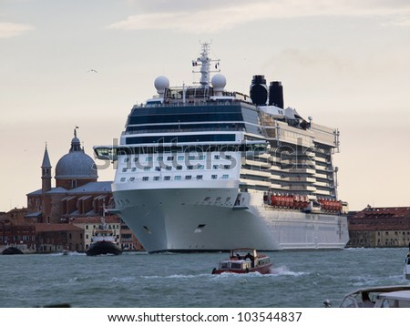 cruise ship at sunset in Venice