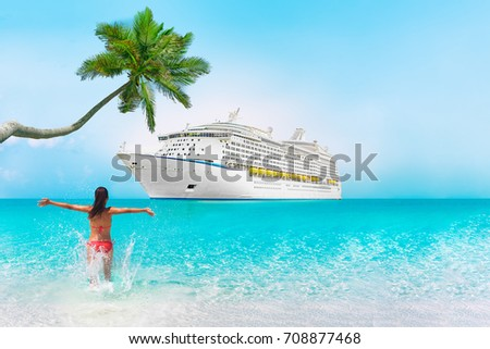 Cruise ship Caribbean vacation travel beach woman in holiday tropical destination with palm tree and bikini girl swimming enjoying ocean water. Background landscape with copy space on blue sky.