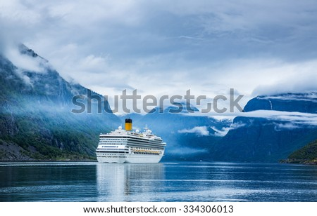 Cruise Ship, Cruise Liners On Hardanger fjorden, Norway