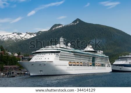 Cruise ship docked at harbor at Ketchikan, Alaska