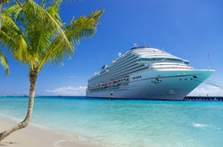 Cruise ship docked at tropical port on sunny day